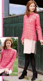 legkij pulover svjazannyj iz mohera krjuchkom 150x280 - Вязаный пуловер крючком для женщин схемы и описание
