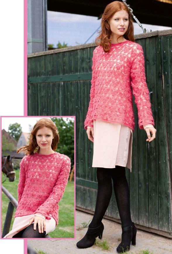 legkij pulover svjazannyj iz mohera krjuchkom - Вязаный пуловер крючком для женщин схемы и описание