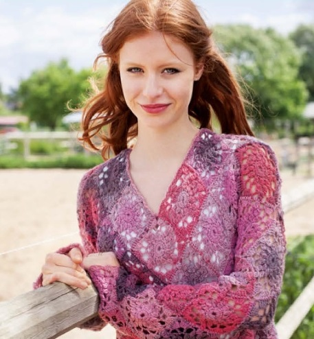 pulover iz kvadratov krjuchkom 1 - Вязаный пуловер крючком для женщин схемы и описание