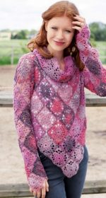 pulover iz kvadratov krjuchkom 150x280 - Вязаный пуловер крючком для женщин схемы и описание