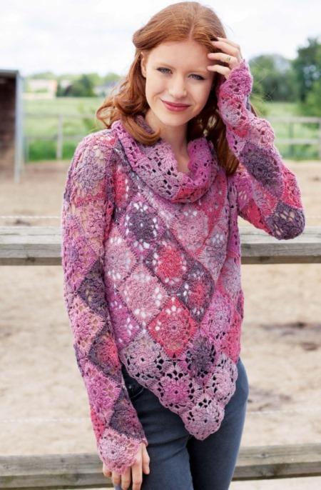 Пуловер из квадратов крючком