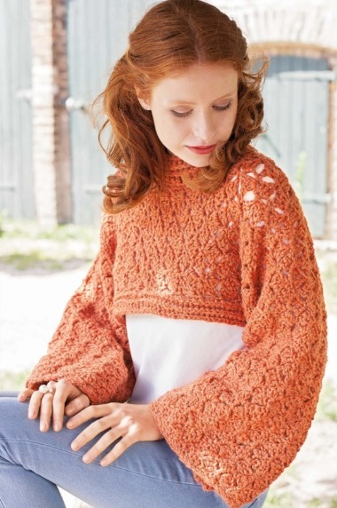 pulover transformer 1 - Вязаный пуловер крючком для женщин схемы и описание