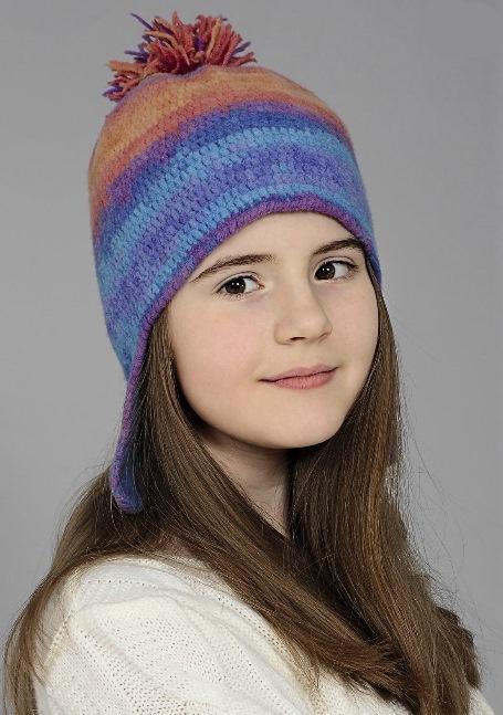 Вязаная детская шапочка с ушками крючком