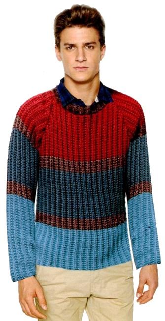 vjazanyj muzhskoj pulover spicami v polosku - Вязаный мужской пуловер спицами схемы с описаниями
