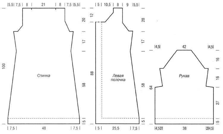 melanzhevoe palto spitsami vykrojka - Вязаное пальто спицами для женщин схемы и описание