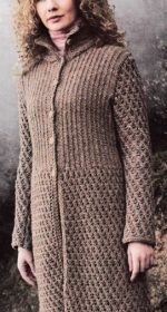palto s azhurnyim uzorom i rezinkoy 150x280 - Вязаное пальто спицами для женщин схемы и описание