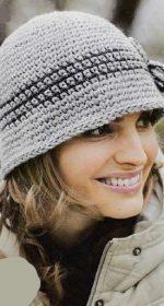 seraya shlyapka 150x280 - Вязаная шляпка крючком