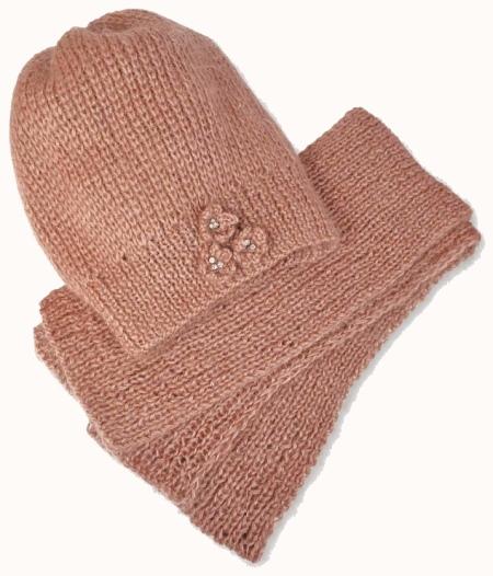 Вязаные шарф и шапка спицами