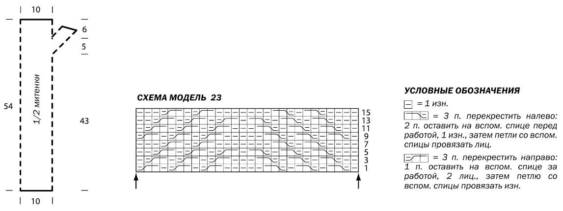 Схемы вязания для митенок спицами схема 797