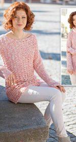 vyazanyiy melanzhevyiy pulover kryuchkom 150x280 - Вязаный пуловер женский крючком схемы и описание