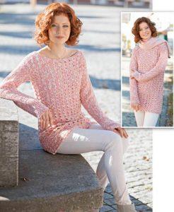 Вязаный меланжевый пуловер крючком