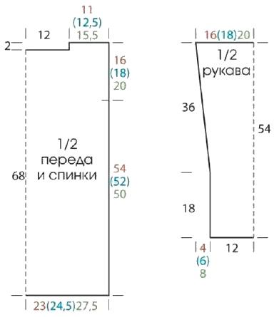 vyazanyiy melanzhevyiy pulover kryuchkom vykrojka - Вязаный пуловер крючком для женщин схемы и описание