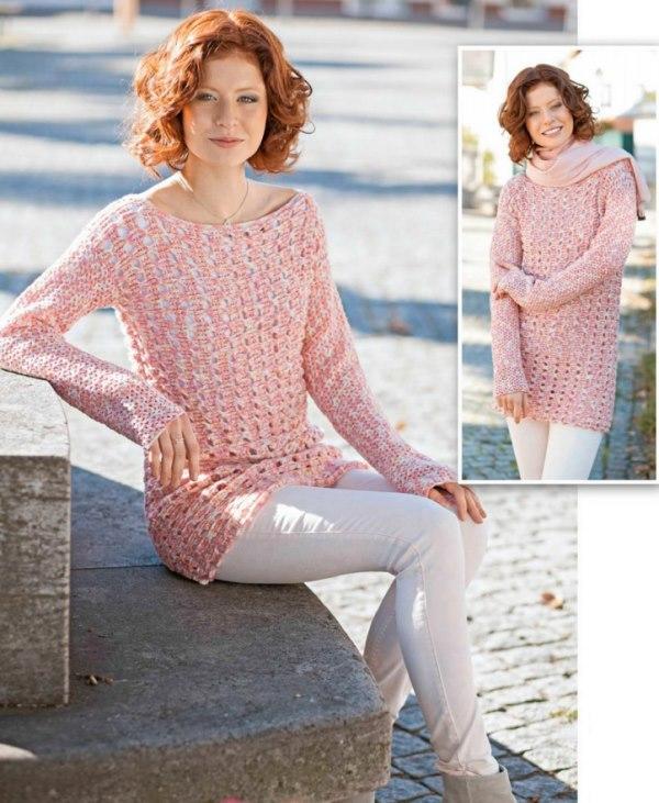 vyazanyiy melanzhevyiy pulover kryuchkom - Вязаный пуловер из меланжевой пряжи крючком