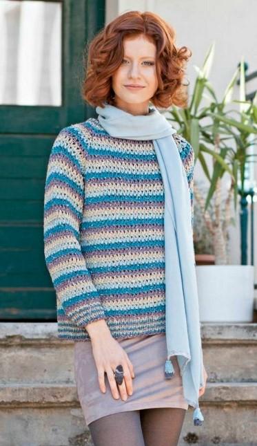 vyazanyiy pulover s rukavom reglan kryuchkom 1 - Вязаный свитер реглан крючком
