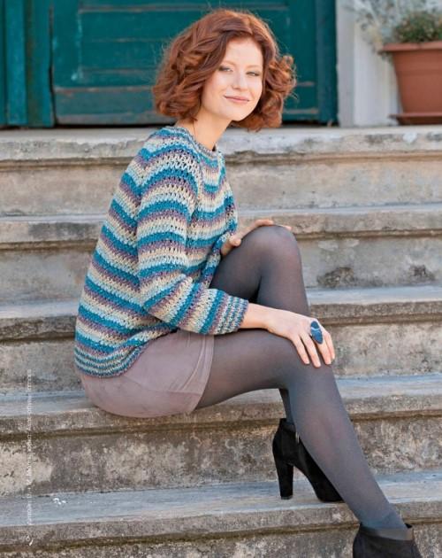 Вязаный пуловер с рукавом реглан крючком