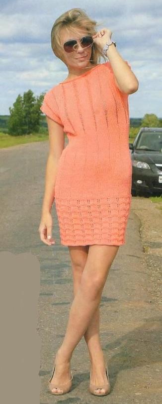 коралловое платье спицами