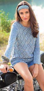 Меланжевый пуловер с узором из ромбов