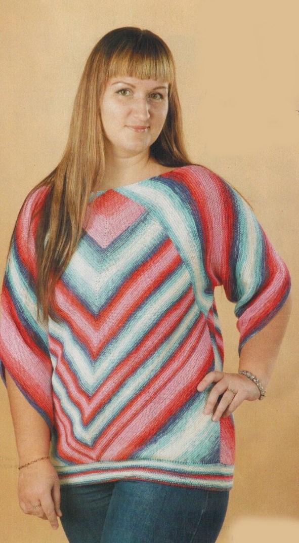 pulover s rombami spicami zhenskij - Вязаный пуловер с ромбами спицами женский