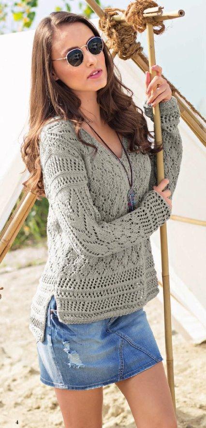 pulover s v obraznym vyrezom - Вязаный пуловер с v образным вырезом спицами