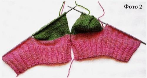 Вязание носков со швом на двух спицах 2