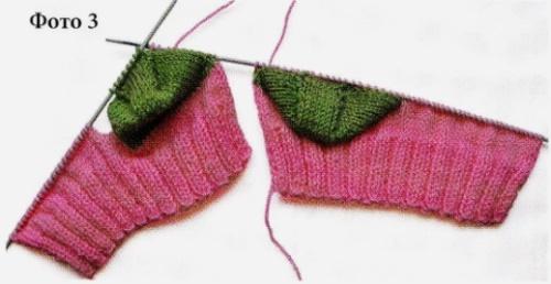 Вязание носков со швом на двух спицах 3