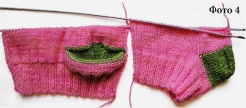 Вязание носков со швом на двух спицах 4