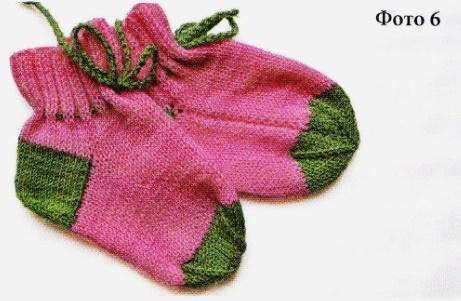Вязание носков со швом на двух спицах 6
