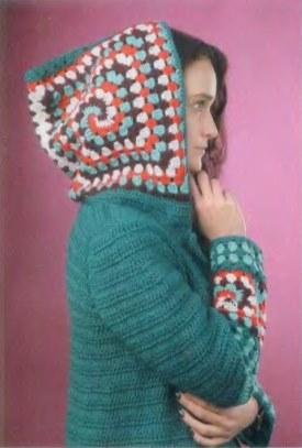 Вязаное пальто крючком из квадратов 1