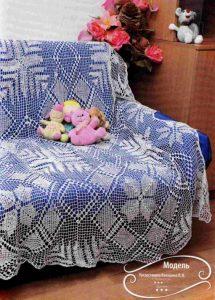Вязаное покрывало крючком из квадратов на диван