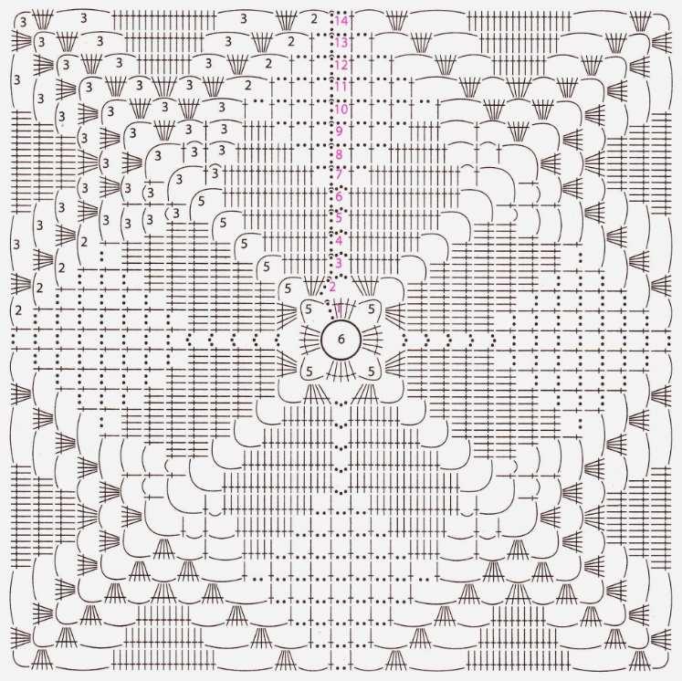 Вязаное покрывало крючком из квадратов на диван схема 1