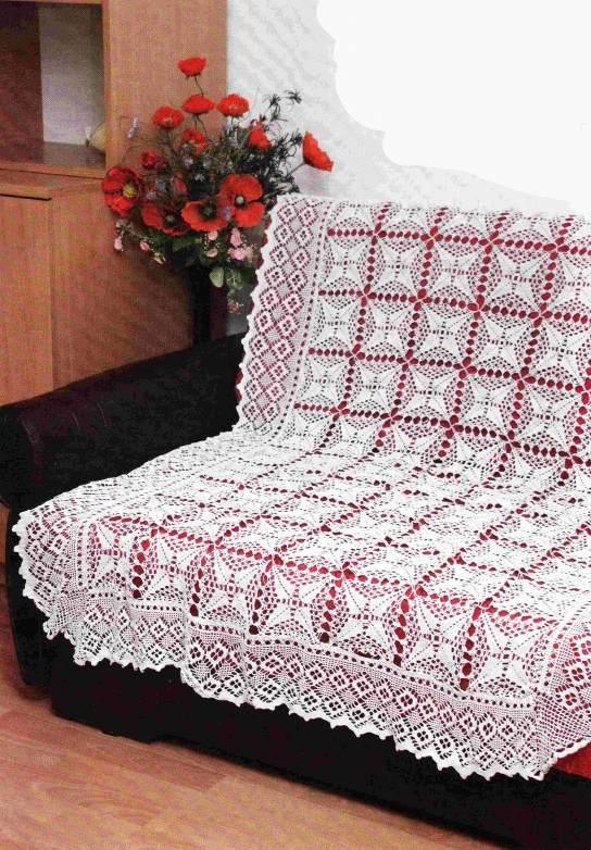 Вязаное покрывало крючком на диван