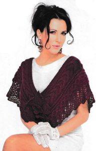 Вязаное пончо-накидка