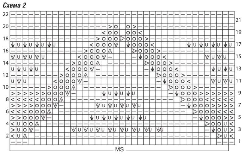 Вязаное спицами ажурное пончо схема 2