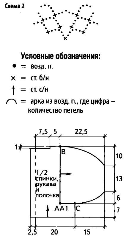 Вязаный короткий жакет крючком схема 2
