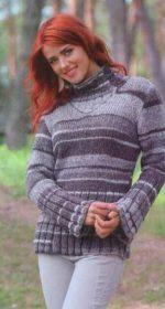 vyazanyj melanzhevyj sviter spicami 150x280 - Вязаный пуловер из меланжевой пряжи спицами женский