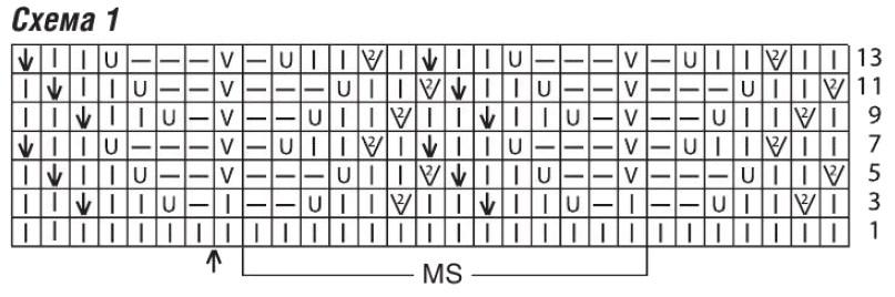 Вязаный удлиненный жакет спицами схема 1