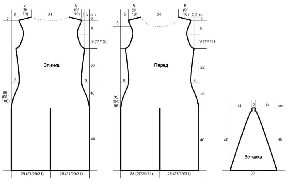 летнее платье спицами выкройка
