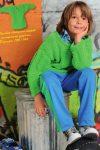 Неоново-зеленый пуловер с ребристым узором