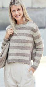 pulover v polosku spicami 150x280 - Вязаный пуловер в полоску спицами для женщин