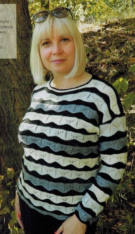 Вязаный пуловер в полоску спицами для женщин