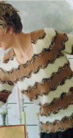 pulover v polosku spicami dlja zhenshhin 150x280 - Вязаный пуловер в полоску спицами для женщин