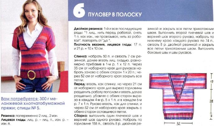 pulover v polosku spicami dlja zhenshhin 3 - Вязаный пуловер в полоску спицами для женщин