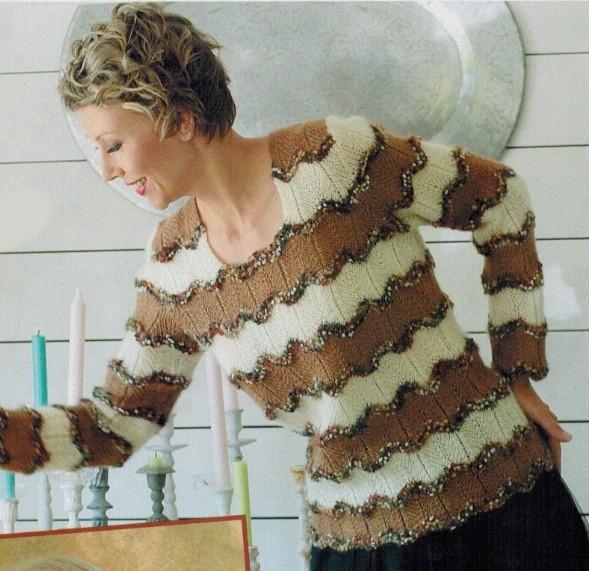 pulover v polosku spicami dlja zhenshhin - Вязаный пуловер в полоску спицами для женщин