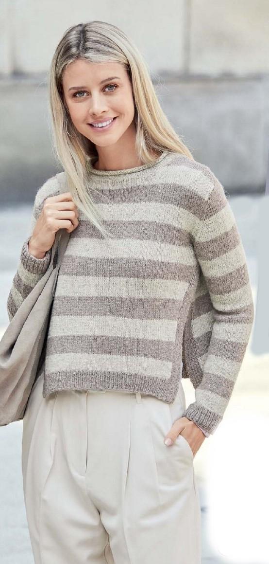 pulover v polosku spicami - Вязаный пуловер в полоску спицами для женщин