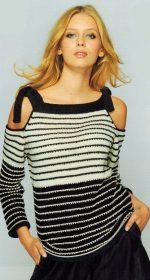pulover v polosku zhenskij spicami 150x280 - Вязаный пуловер в полоску спицами для женщин