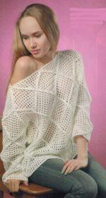 pulover v stile pechvork 150x280 - Вязаный пуловер крючком для женщин схемы и описание