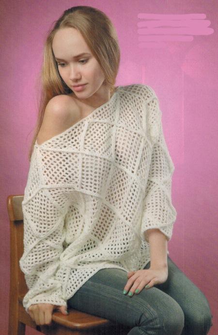pulover v stile pechvork - Вязаный пуловер крючком для женщин схемы и описание