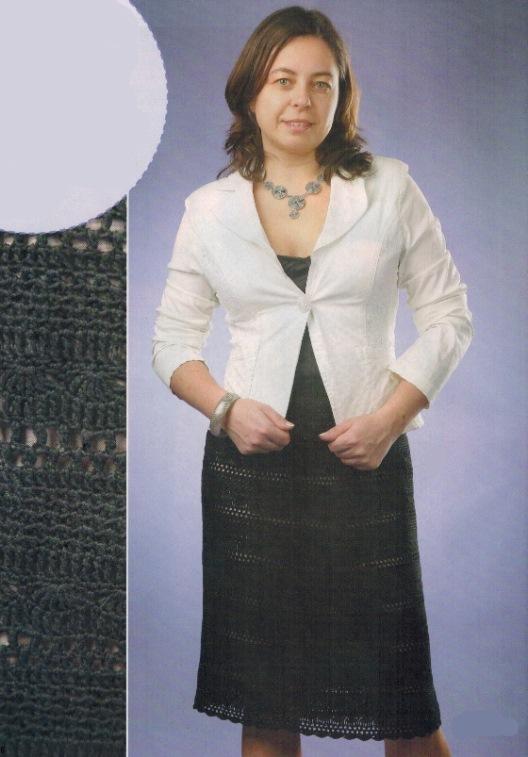 Вязаная черная юбка крючком