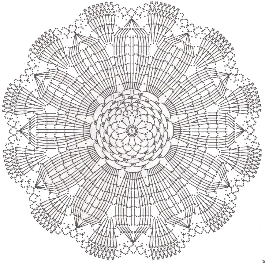 Вязаная круглая салфетка крючком схема