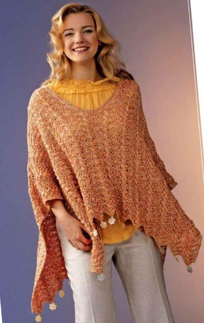 Вязаное пончо спицами для женщин